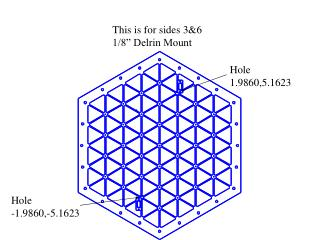 """This is for sides 3&6 1/8"""" Delrin Mount"""