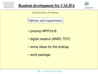 Readout development for CALIFA