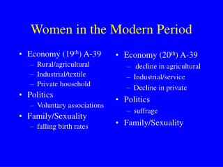 Women in the Modern Period
