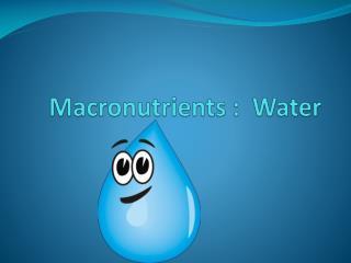 Macronutrients :  Water