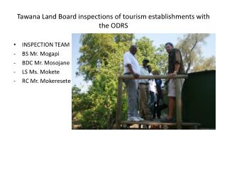 Tawana Land Board inspections of tourism establishments with the ODRS