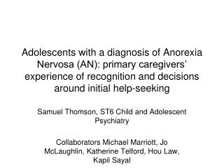 Samuel Thomson, ST6 Child and Adolescent Psychiatry