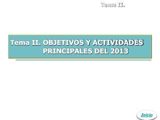 Tema II. OBJETIVOS Y ACTIVIDADES PRINCIPALES DEL 2013