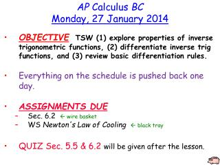 AP  Calculus  BC Monday, 27 January 2014