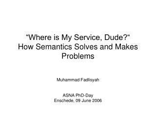 """""""Where is My Service, Dude?"""" How Semantics Solves and Makes Problems"""
