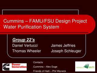 Cummins – FAMU/FSU Design Project Water Purification System