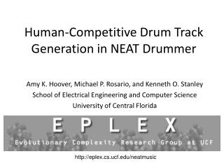 Human-Competitive Drum Track Generation in NEAT Drummer