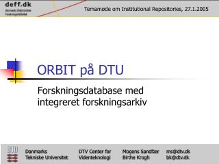 ORBIT på DTU