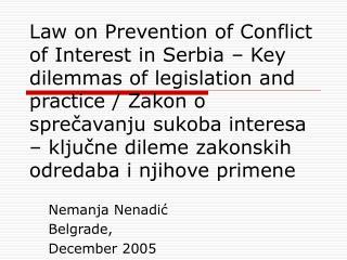 Nemanja Nenadi ć Belgrade,  December 2005