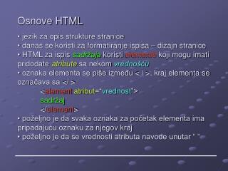 Osnove HTML
