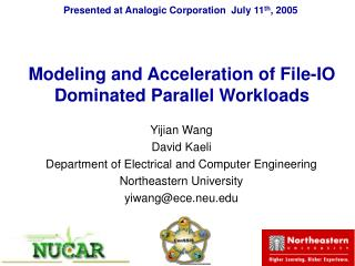 Modeling and Acceleration of File-IO Dominated Parallel Workloads