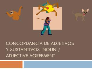 Concordancia  de  Adjetivos y Sustantivos   Noun / Adjective Agreement