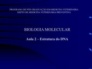 BIOLOGIA MOLECULAR Aula 2 – Estrutura do DNA