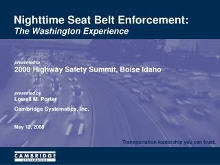 Nighttime Seat Belt Enforcement: