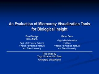 An Evaluation of Microarray Visualization Tools for Biological Insight