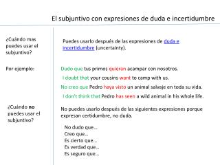 ¿Cuándo mas puedes usar el subjuntivo?