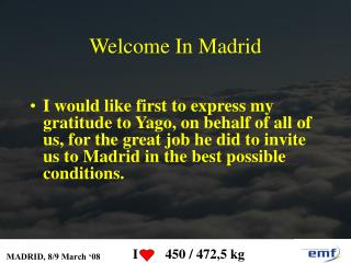 Welcome In Madrid