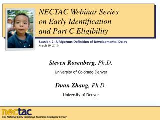NECTAC Webinar Series  on Early Identification  and Part C Eligibility