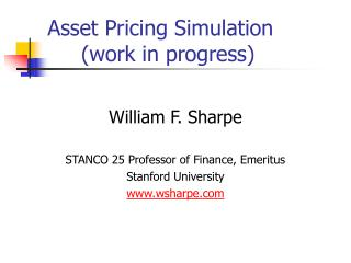 Asset Pricing Simulation      (work in progress)