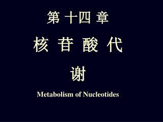 第 十四 章 核 苷 酸 代 谢 Metabolism of Nucleotides