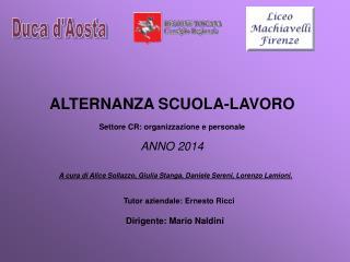 ALTERNANZA SCUOLA-LAVORO Settore CR: organizzazione e personale ANNO 2014