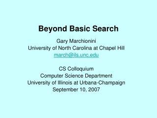 Beyond Basic Search