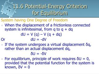 11.6 Potential-Energy Criterion for Equilibrium