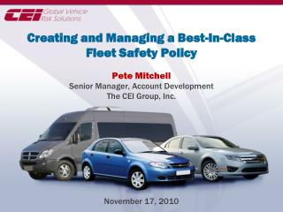 Creating and Managing a Best-In-Class Fleet Safety Policy