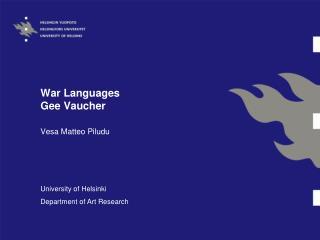 War Languages Gee Vaucher
