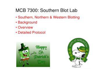 MCB 7300: Southern Blot Lab