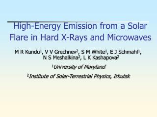 High-Energy Emission from a Solar Flare in Hard X-Rays and Microwaves