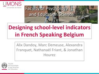 Designing school-level indicators in French Speaking Belgium
