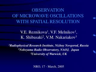 OBSERVATION  OF MICROWAVE OSCILLATIONS WITH SPATIAL RESOLUTION