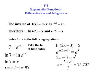 5.4 Exponential Functions: Differentiation and Integration