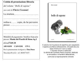 """Cedola di prenotazione libraria del volume """"Bolle di sapone"""" racconti di Flavio Cocanari"""