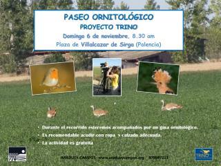 PASEO ORNITOLÓGICO PROYECTO TRINO Domingo 6 de noviembre , 8.30 am