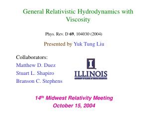 General Relativistic Hydrodynamics with Viscosity