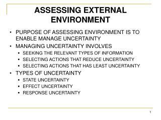 ASSESSING EXTERNAL ENVIRONMENT