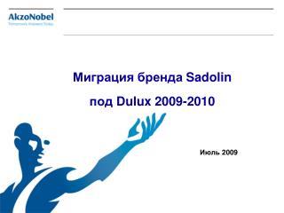Миграция бренда  Sadolin под  Dulux  2009-201 0