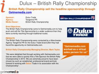 Dulux – British Rally Championship