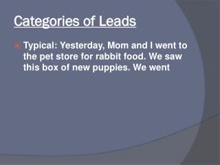 Categories of Leads