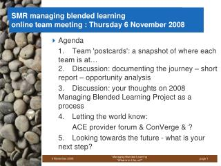 SMR managing blended learning online team meeting : Thursday 6 November 2008