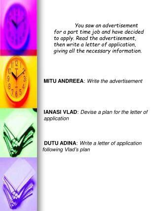 MITU ANDREEA :  Write the advertisement