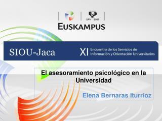 El asesoramiento psicol gico en la Universidad  Elena Bernaras Iturrioz