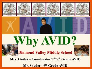 Why AVID?  Diamond Valley Middle School Mrs.  Guilas  – Coordinator/7 th /8 th  Grade AVID