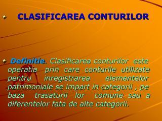 CLASIFICAREA CONTURILOR