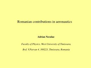 Romanian contributions in aeronautics