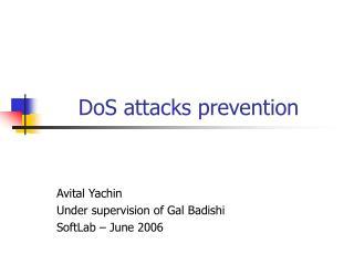 DoS attacks prevention