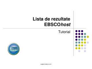 Lista de rezultate  EBSCO host