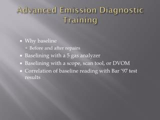 Advanced Emission Diagnostic Training